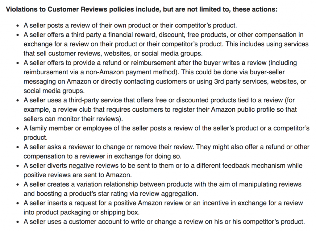Amazon customer review policies